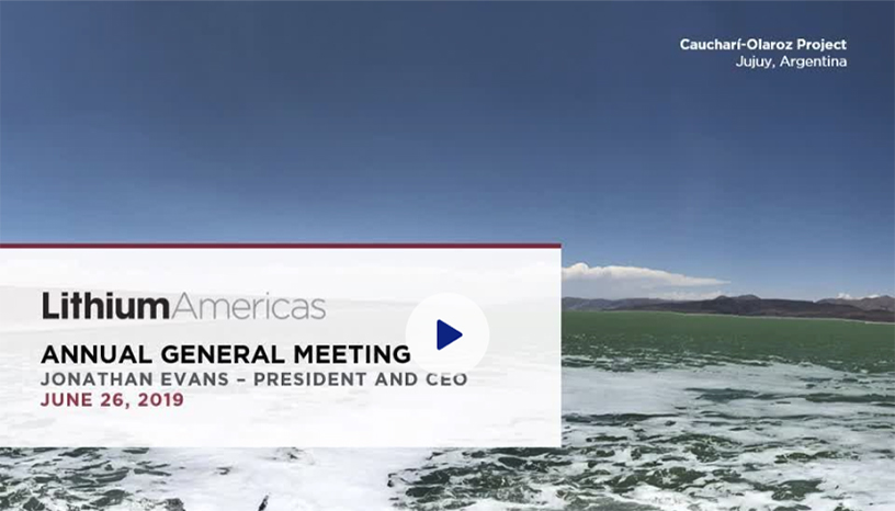 Lithium Americas - Annual General Meeting June 26, 2019